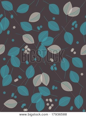 Vector seamless pattern displaying leaves and dots.