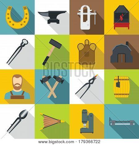 Blacksmith icons set. Flat illustration of 16 blacksmith vector icons for web