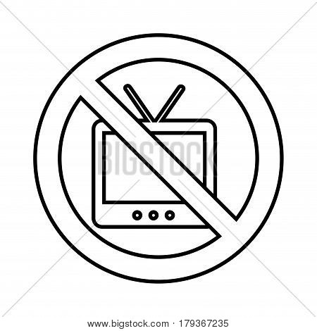 tv with denied sign vector illustration design