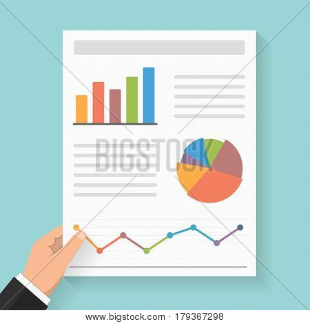 Hand holding business report with different graphs, vector eps10 illustration