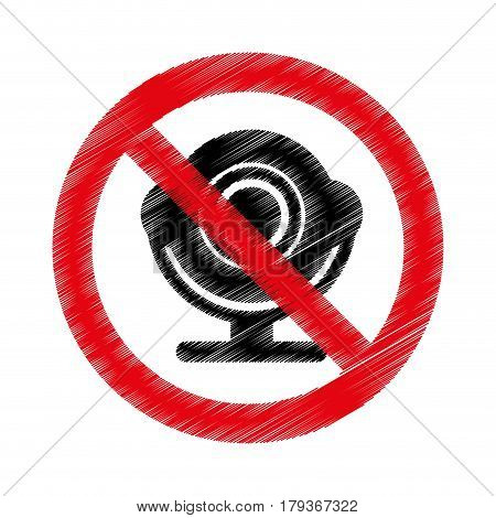 web camera with denied sign vector illustration design