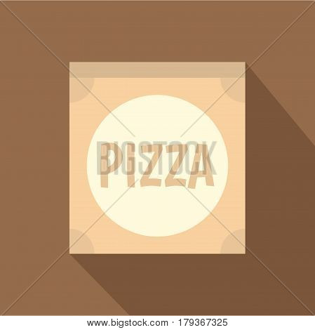 Cardboard box with pizza icon. Flat illustration of cardboard box with pizza vector icon for web isolated on coffee background