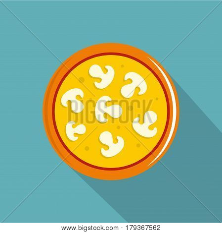 Vegetarian pizza with mushrooms icon. Flat illustration of vegetarian pizza with mushrooms vector icon for web isolated on baby blue background