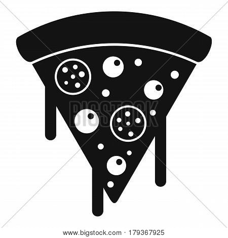 Slice of pizza with salami and melted cheese icon. Simple illustration of slice of pizza with salami and melted cheese vector icon for web
