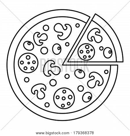Delicious pizza with mushrooms, salami and olives, lifted slice one icon. Outline illustration of delicious pizza with mushrooms, salami and olives , lifted slice one vector icon for web
