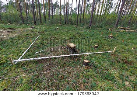 Marking an archaeological excavation in the forest