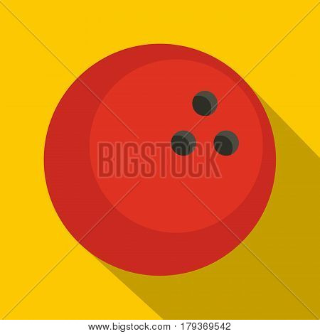 Red marbled bowling ball icon. Flat illustration of red marbled bowling ball vector icon for web isolated on yellow background