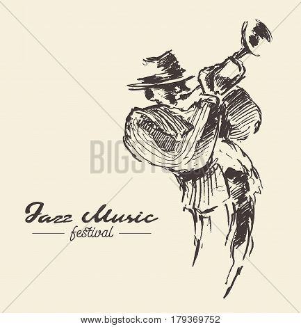 Man playing the trumpet, vintage hand drawn illustration