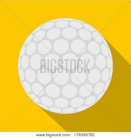 Ball for playing golf icon. Flat illustration of ball for playing golf vector icon for web isolated on yellow background