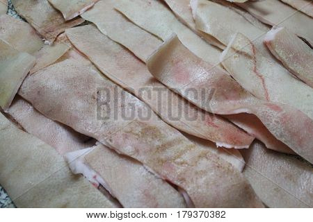 lines of pink pig fresh skin use in different industry