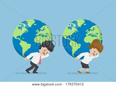 Businessman And Businesswoman Carry World Globe On His Back