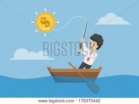 Businessman Catching Dollar Coin By Fishing Rod.