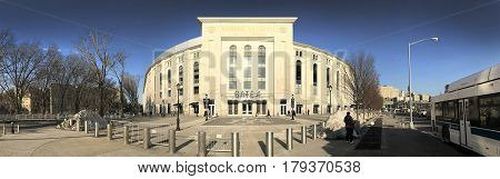 BRONX NEW YORK - MARCH 21: Panoramic of Yankee Stadium. Taken March 21 2017 in New York.