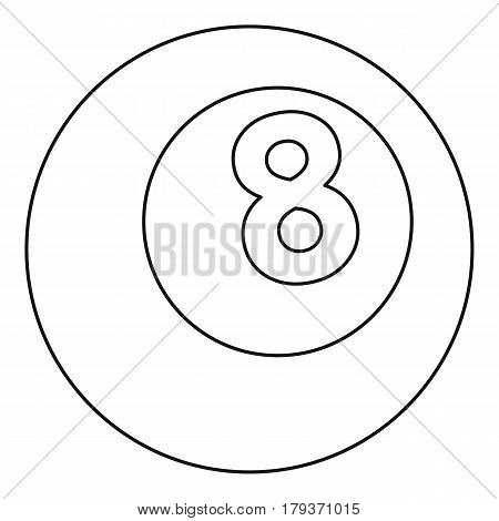 Snooker eight pool icon. Outline illustration of snooker eight pool vector icon for web