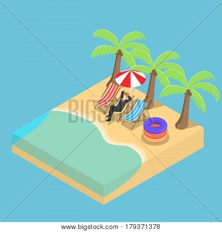 Isometric Businessman Relaxing On The Beach