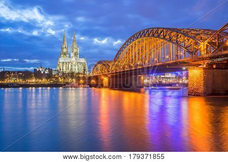 Night In Cologne And View Of Cologne Cathedral In Cologne, Germa