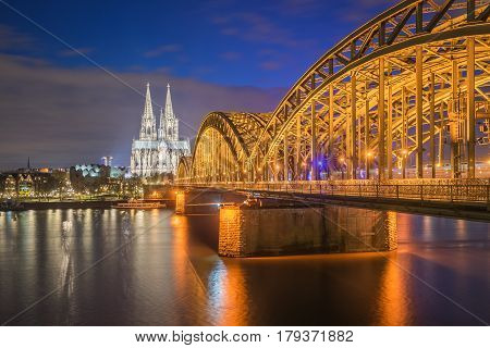 Night View Of Cologne Cathedral In Cologne, Germany