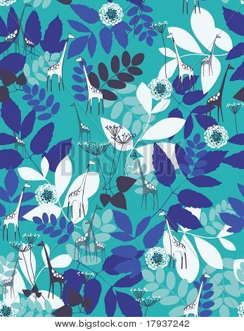 Vector Floral Pattern with cute giraffe (Seamless)
