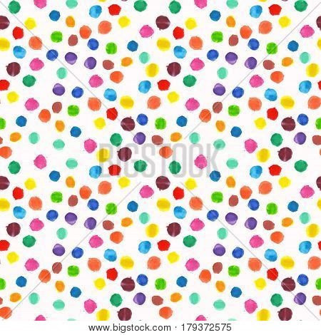 Raster watercolor hand drawn dolka dot background. Can be used as fabric pattern, card backdrop.
