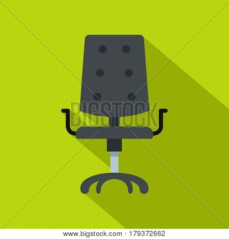 Black office chair icon. Flat illustration of black office chair vector icon for web isolated on lime background