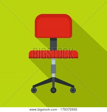 Red office a chair icon. Flat illustration of red office a chair vector icon for web isolated on lime background