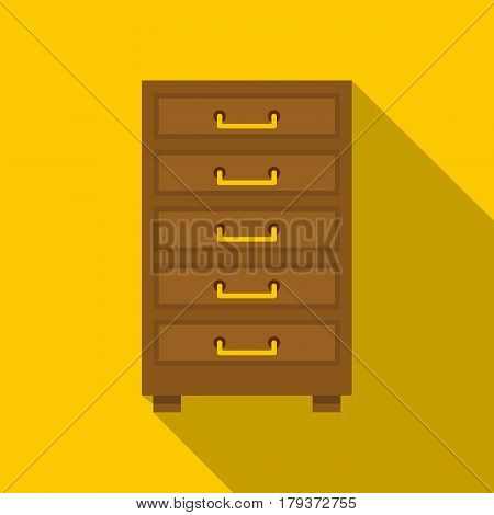Wooden cabinet with drawers icon. Flat illustration of wooden cabinet with drawers vector icon for web isolated on yellow background