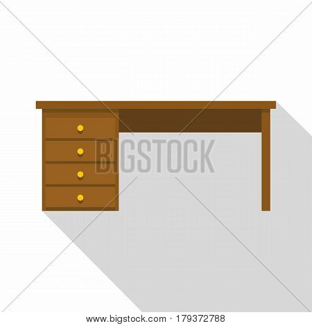 Wooden office desk icon. Flat illustration of wooden office desk vector icon for web isolated on white background