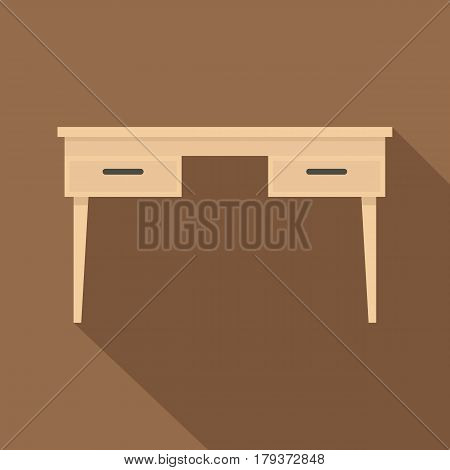 Wooden table icon. Flat illustration of wooden table vector icon for web isolated on coffee