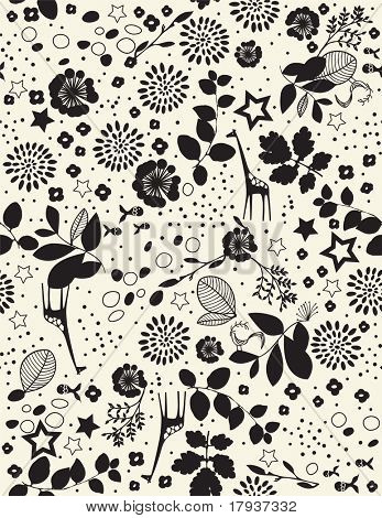 Vector Floral with children's graphics (Seamless Pattern)