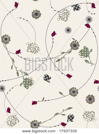 Vector floral pattern with cute bird (Seamless Pattern)