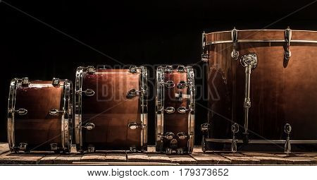 Drums, Musical Percussion Instruments On A Black Background