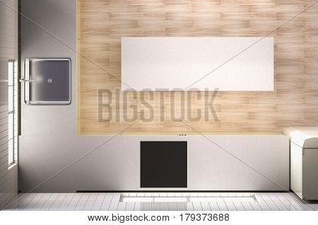 3d rendering empty kitchen top view with wooden floor