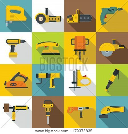 Electric tools icons set. Flat illustration of 16 electric tools vector icons for web