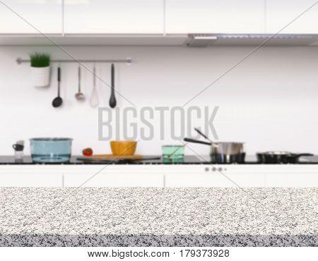 3d rendering empty granite counter in kitchen