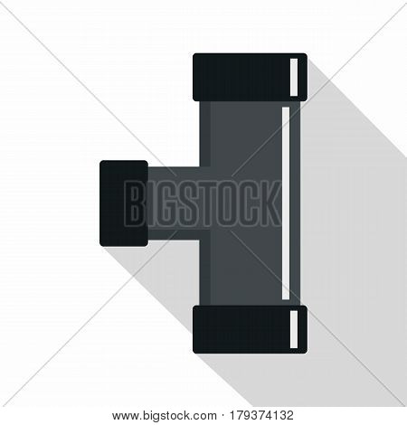 Black joint T pipe connection icon. Flat illustration of black joint T pipe connection colorful wallpapers vector icon for web isolated on white background