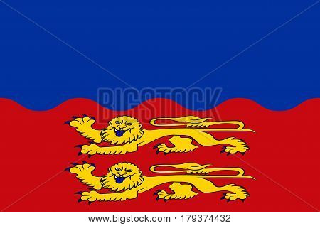 Flag of Calvados is a department in the Normandy region in northwestern France. Vector illustration