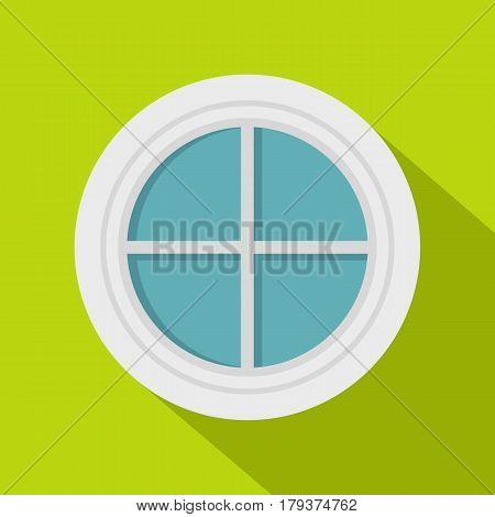 White round window icon. Flat illustration of white round window vector icon for web isolated on lime background