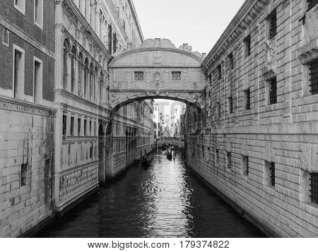 Bridge Of Sighs In Venice In Black And White