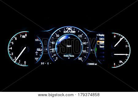 Modern Light Car Mileage On Black Background Sport 25 Mph
