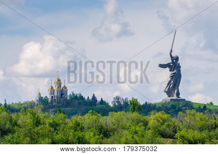 A part of Mamaev Kurgan and Motherland monument in Volgograd, Stalingrad, Russia (February 23, May 9).