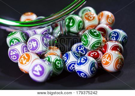 Colourful Lottery Balls In A Machine