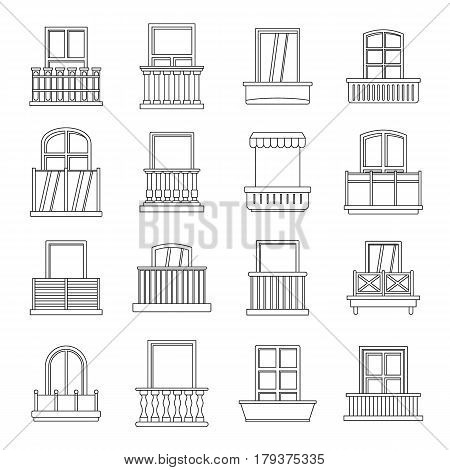 Window forms icons set balcony. Outline illustration of 16 window balcony forms vector icons for web