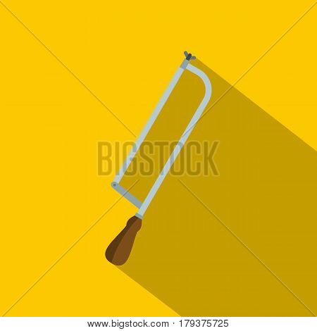 Surgical saw icon. Flat illustration of surgical saw vector icon for web isolated on yellow background