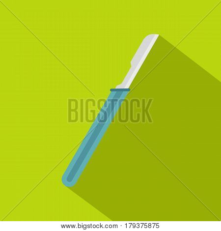 Scalpel with blue handle icon. Flat illustration of scalpel with blue handle vector icon for web isolated on lime background