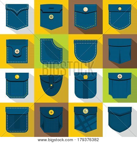 Pocket types icons set. Flat illustration of 16 pocket types vector icons for web