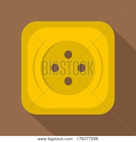 Yellow square sewing button icon. Flat illustration of yellow square sewing button vector icon for web isolated on coffee background