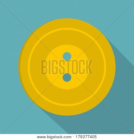 Yellow sewing button icon. Flat illustration of yellow sewing button vector icon for web isolated on baby blue background