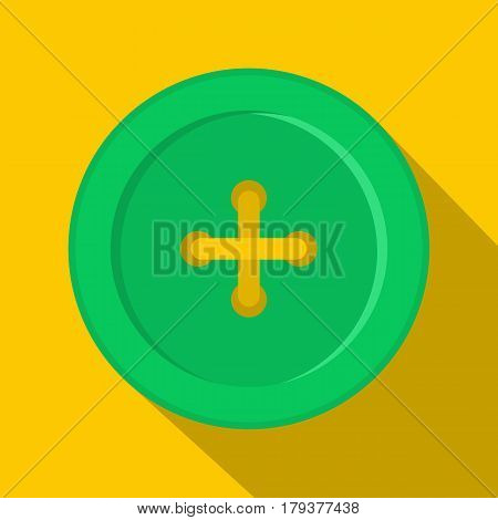 Green sewing button icon. Flat illustration of green sewing button vector icon for web isolated on yellow background