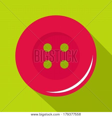 Pink sewing button icon. Flat illustration of pink sewing button vector icon for web isolated on lime background
