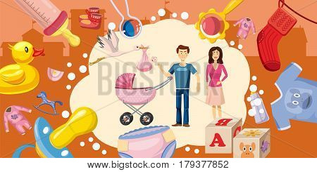 Family horizontal banner concept goods. Cartoon illustration of family goods vector horizontal banner for web